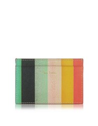 Paul Smith Men's Leather Artist Stripe Print Credit Card Holder Multicolor