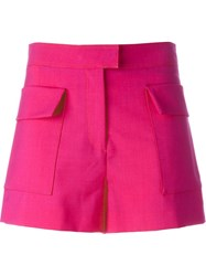 Msgm Flap Pocket Shorts Pink And Purple