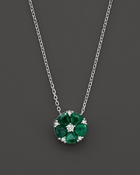 Bloomingdale's Emerald And Diamond Flower Pendant Necklace In 14K White Gold 16 Green