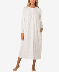 Lanz Of Salzburg Lace Trimmed Printed Microfleece Nightgown Mint Print