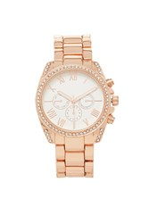 Forever 21 Rhinestone Chronograph Watch Rose Gold Clear