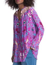 Plenty By Tracy Reese Printed Long Sleeve Shirt Tunic Purple