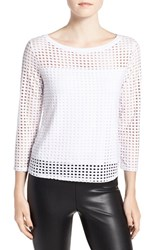 Trouve Women's Dot Cutout Knit Top White