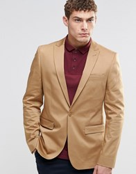 Asos Skinny Blazer In Cotton Camel