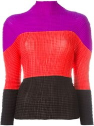 Issey Miyake Vintage Colour Block Pleated Top Multicolour