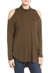 Bobeau Women's Cold Shoulder Mock Neck Top Olive