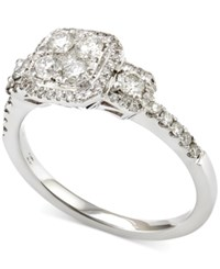 Macy's Diamond Cluster Halo Engagement Ring 5 8 Ct. T.W. In 14K White Gold