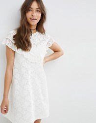 Asos Lace Swing Dress With Ruffle Yoke Cream