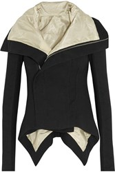 Rick Owens Naska Asymmetric Wool And Linen Blend Jacket Black
