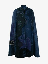By Walid Wsima Chinese Embroidered Silk Patchwork Cape Multi Coloured Linen Denim