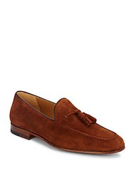 Magnanni For Saks Fifth Avenue Suede Tassel Loafers Cognac