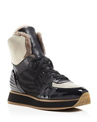 Aquatalia By Marvin K Aquatalia Weatherproof Jacinda Shearling High Top Sneakers Black