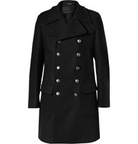 Dolce And Gabbana Slim Fit Double Breasted Wool Blend Coat Black
