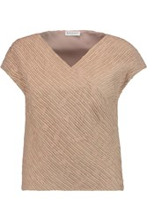 Vionnet Embroidered Silk Gauze Top Brown