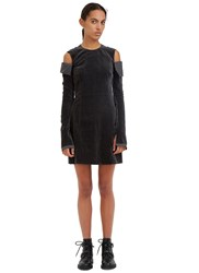 Yang Li Torn Velvet Mini Dress Black