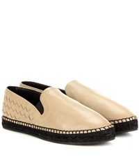 Bottega Veneta Intrecciato Leather Espadrilles Beige