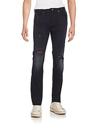 7 For All Mankind Paxtyn Distressed Skinny Jeans Black