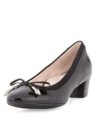 Taryn Rose Fairlawn Patent Low Heel Bow Pump Black