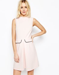 Asos High Neck A Line Dress With Pockets Pink