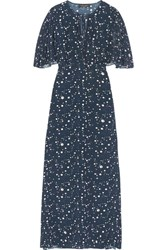 Adriana Degreas Constellation Printed Silk Crepe De Chine Maxi Dress Midnight Blue