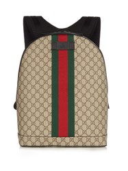 Gucci Gg Web Panel Canvas Backpack Brown Multi