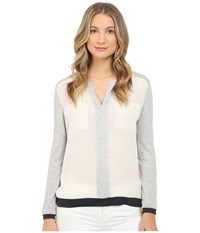 Armani Jeans Poly Crepe And Viscose Jersey Blouse Beige Chiaro