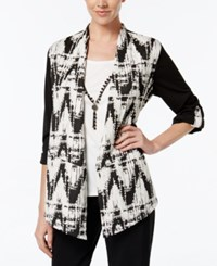 Alfred Dunner Jacquard Layered Look Top Multi