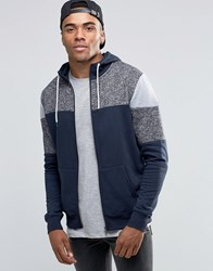 New Look Hoodie With Blocked Detail In Navy Navy