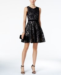 Xscape Evenings Damask Mesh Lace Fit And Flare Dress Black Blush