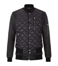 Philipp Plein Diamond Quilted Layered Bomber Jacket Male Black