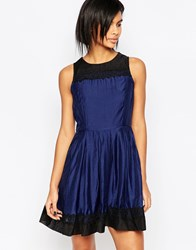 Iska Prom Dress With Lace Hem And Neckline Navy Black