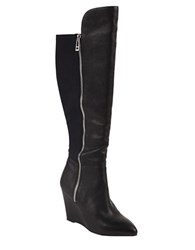 Charles By Charles David Ebony Leather Over The Knee Wedge Boots Black