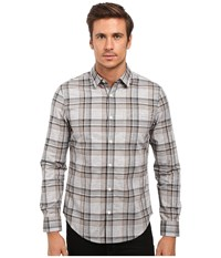 Original Penguin Long Sleeve Heathered Plaid Griffin Men's Long Sleeve Button Up Gray