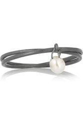 Inez And Vinoodh Oxidized Silver Pearl Interlinked Rings