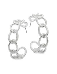 Design Lab Lord And Taylor Curb Chain Open Hoop Earrings 1.25 In. Silver