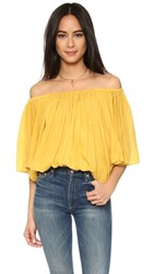 Tbags Los Angeles Off Shoulder Blouse Mustard