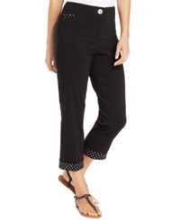 Style And Co. Curvy Fit Rhinestone Hem Capri Deep Black
