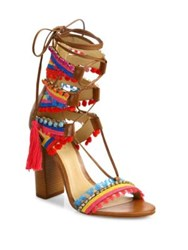Schutz Calla Jeweled Leather Lace Up Block Heel Sandals Bamboo