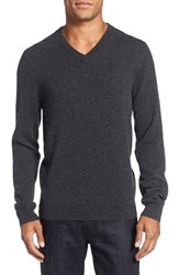Nordstrom Men's Big And Tall Cashmere V Neck Sweater Grey Dark Charcoal Heather