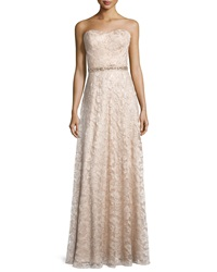 Aidan Mattox Sweetheart Neck Strapless Lace Gown Light Gold