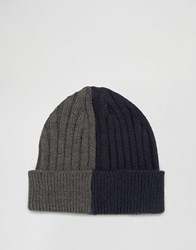 Asos Half And Half Beanie In Navy And Grey Navy Blue