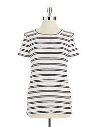 Lord And Taylor Striped Crew Neck Tee Black