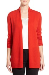 Women's Nordstrom Collection Open Front Cashmere Cardigan Red Chinoise