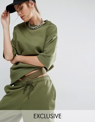 Bones Oversized Boxy Sweatshirt Co Ord Dusty Olive Green