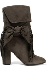 Aquazzura Bow Embellished Fringed Suede Boots Dark Gray