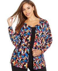 August Silk Plus Size Printed Scoop Neck Cardigan Dapple Spicy Warmth