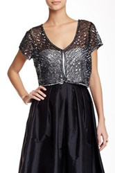 Adrianna Papell Beaded Tulle Cover Up Black