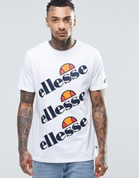 Ellesse T Shirt With Triple Logo White
