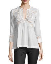 Rebecca Taylor 3 4 Sleeve Silk And Lace Top Snow