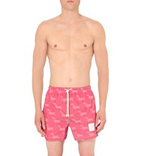Thom Browne Hector Print Woven Swim Short Red